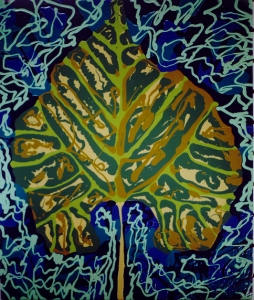 RStone painting 6 green leaf on green